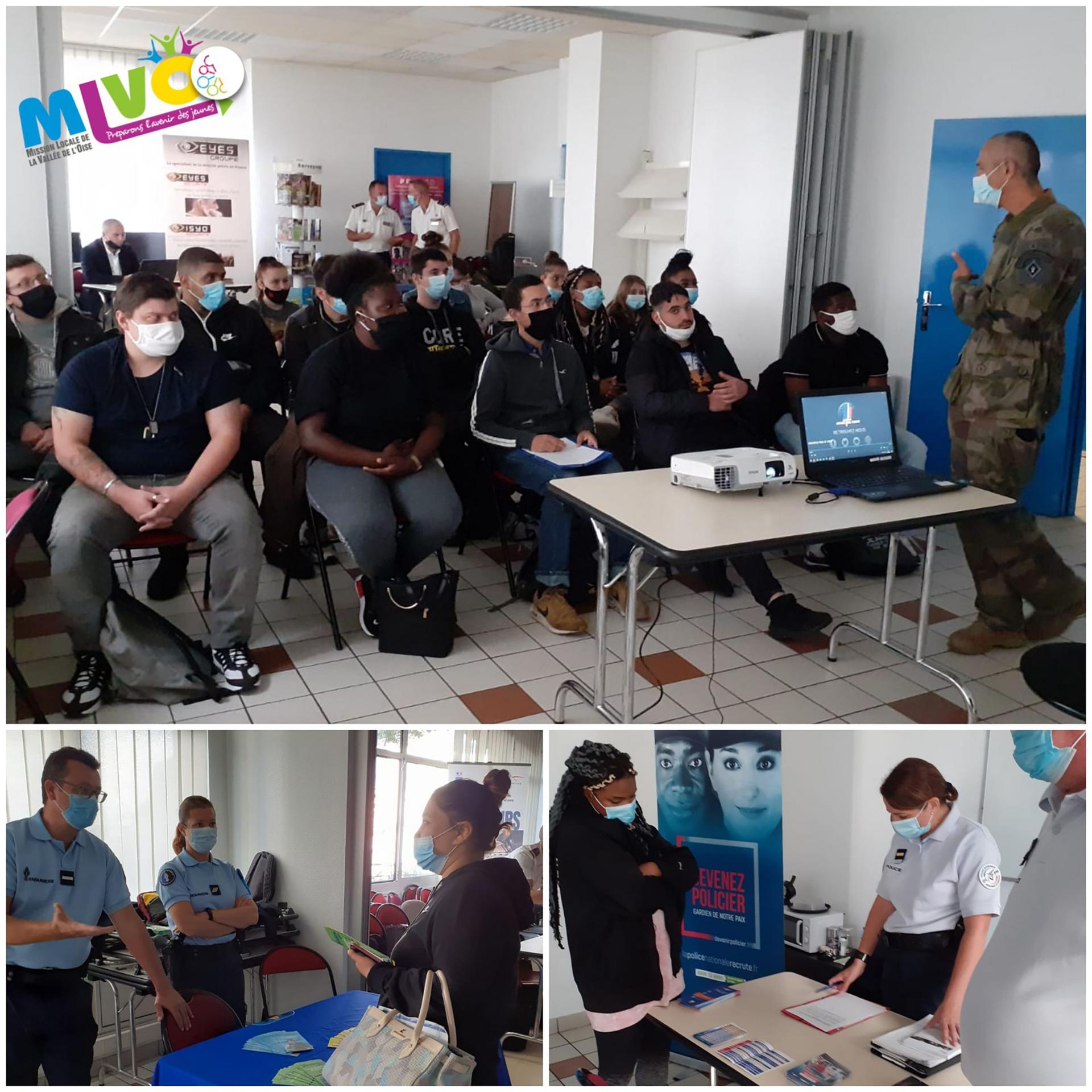 Des photos de la rencontre des jeunes et des membres de l'armée