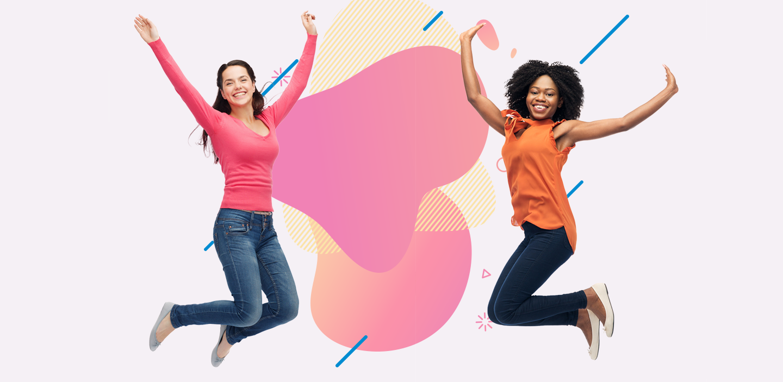 Deux femmes sautent dans les airs sur un fond abstrait